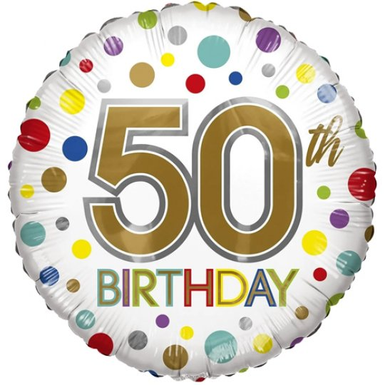 50th Birthday Eco Foil Bright Dots Balloon - Age Balloons - Fabulous Partyware