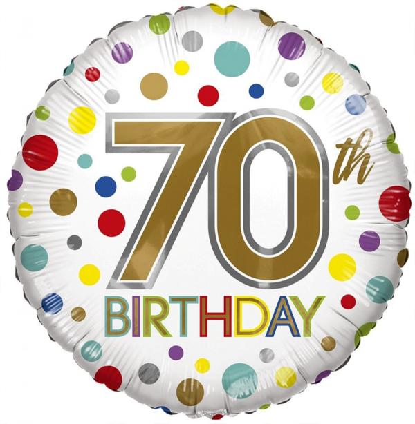 70th Birthday Eco Foil Bright Dots Balloon-Eco Foil Balloons - Fabulous Partyware