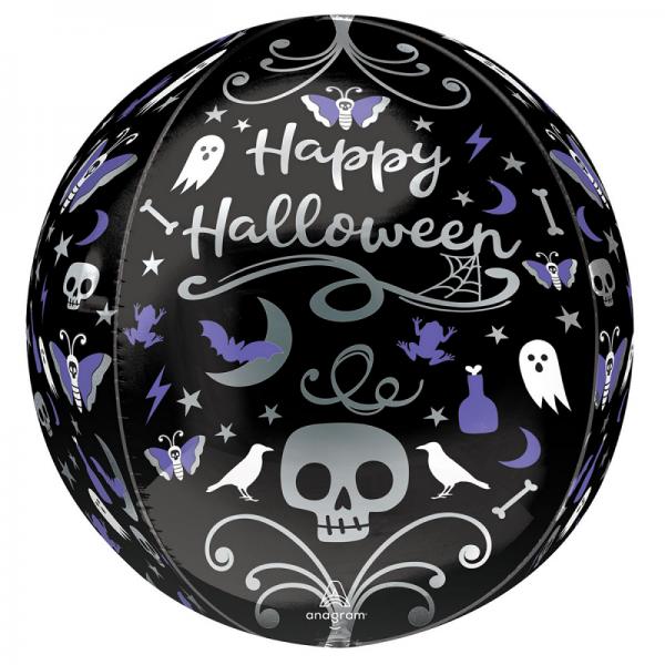 Happy Halloween Moonlight Orbz Balloon - INFLATED - Halloween - Fabulous Partyware