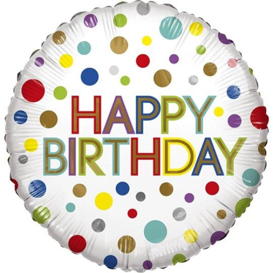 Happy Birthday Bright Dots Eco Foil Balloon - Ballooons - Fabulous Partyware