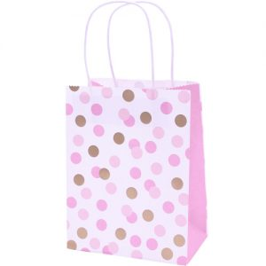 Pink and Gold Spotty party bags x 4 - Pink gift bags - Fabulous Partyware