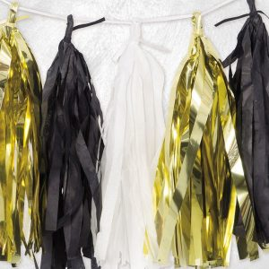 Metallic Gold, Black & White Tassel Garland 9ft - Party decorations - Fabulous Partyware