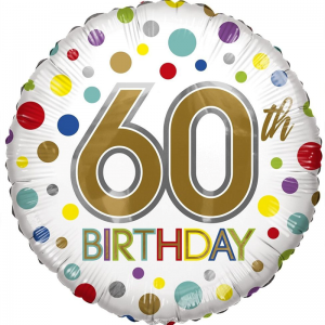 60th Birthday Eco Foil Bright Dots Balloon - Eco Foil Balloons - Fabulous Partyware