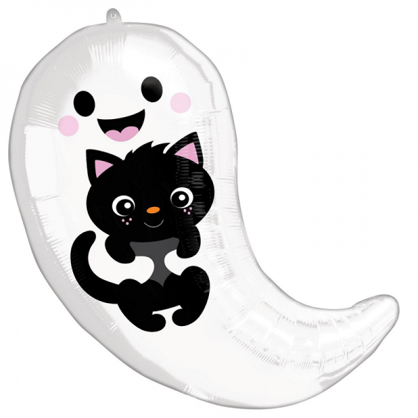 Halloween Ghost and Kitten Foil Balloon - INFLATED - Halloween - Fabulous Partyware