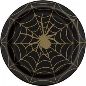 Halloween Spiderweb paper plates x 8 - Halloween party - Fabulous Partyware